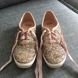 Kate Spade rose gold sparkle Keds